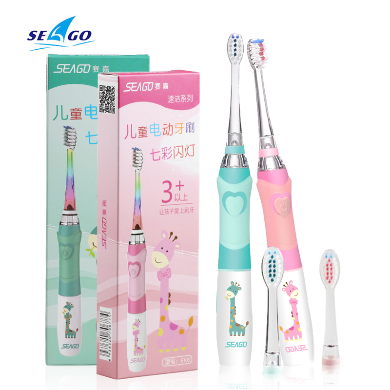 Seago Kids Sonic Electric Toothbrush Soft Bristle Brush Head Waterproof Replacement Best Gift For Kids image