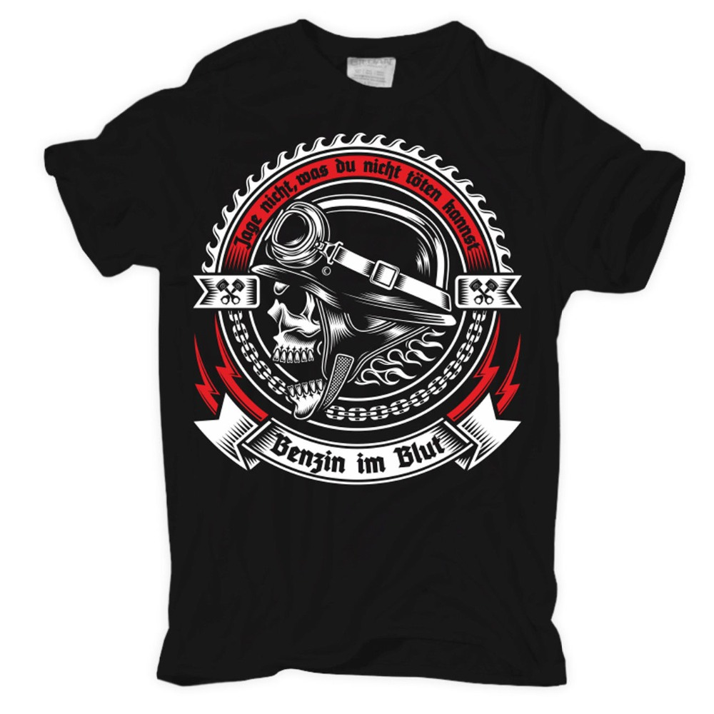 Men'S Mens <font><b>T</b></font>-<font><b>Shirt</b></font> Gasoline In The Blood Motorcycle Bikes Biker Rocker <font><b>Mc</b></font> Oldschool Motorradhigh Quality 2019 Summer Tee <font><b>shirt</b></font> image