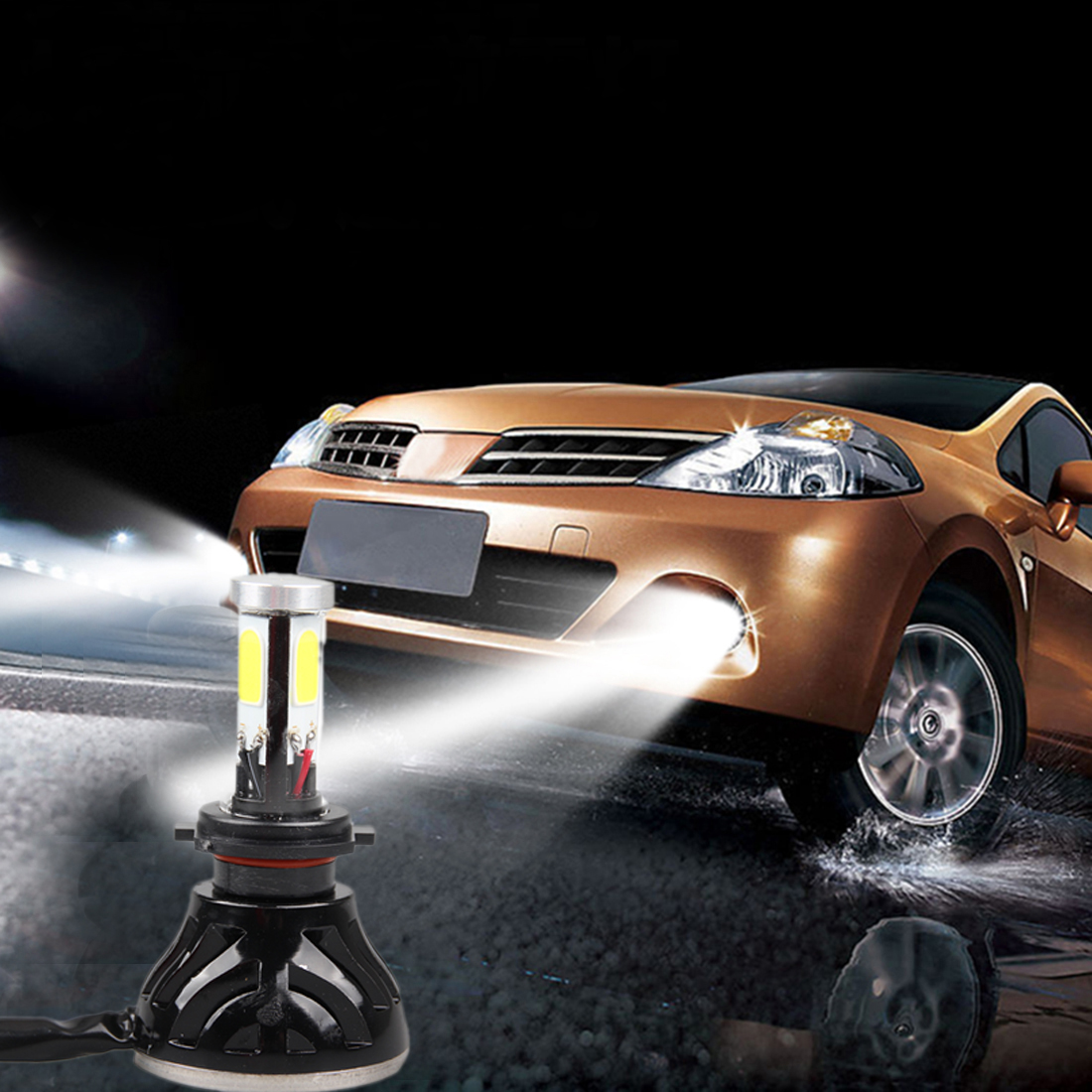 ФОТО NEW Led Car Auto Headlight H7 80W 8000LM 4 COB Led All In One White Bulb for Automotives Headlight Fog lamp