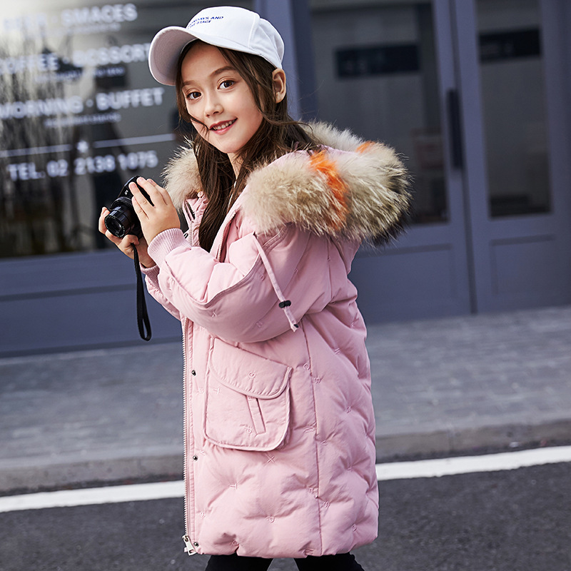 все цены на Baby girl clothes winter white duck down girls winter coat 2018 winter coat warm thick hood long coat 6 8 10 12 14 years.