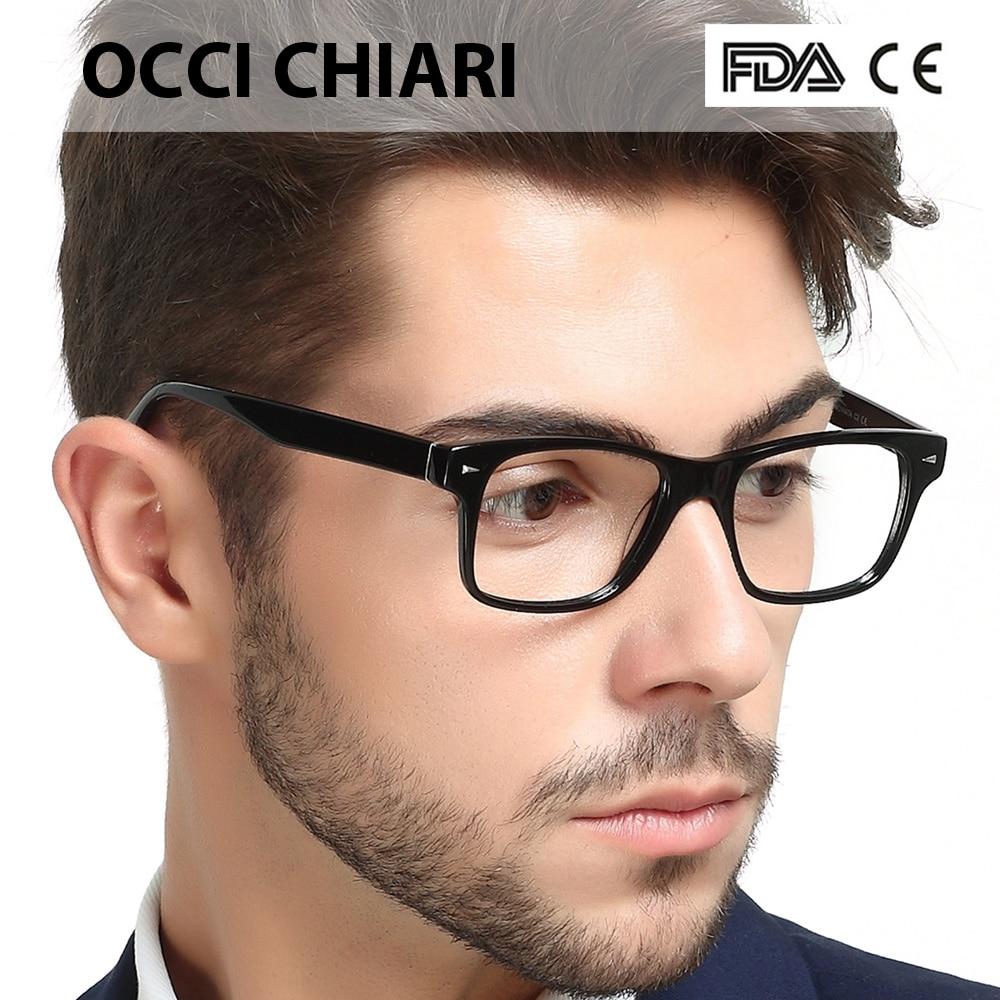 OCCI CHIARI Men Optical Frame Glasses Black Vintage Acetate Full Rim Myopia Eye Clear Lens Spectacles Gafas W-CONIDI