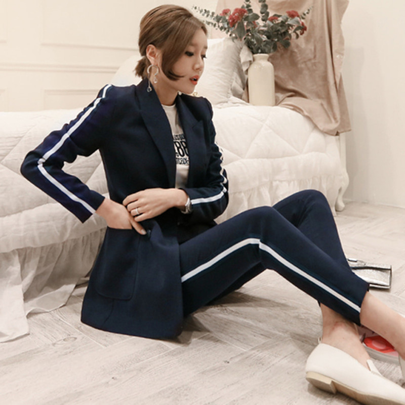 ZAWFL 2019 Fashion Simple Double Breasted Two Piece Slim Girl Office Lady High End Elegant Straight Line Suit Two-piece Set