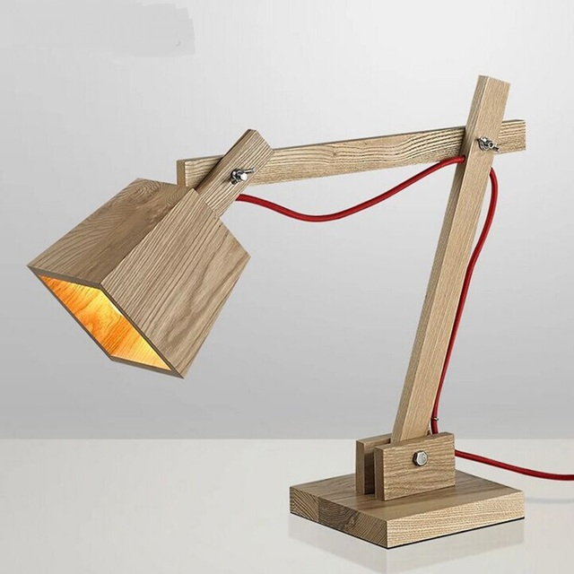 Nordic solid wood table lamps creative desk lamp study bedroom nordic solid wood table lamps creative desk lamp study bedroom bedside lamp adjustable solid wood table aloadofball Choice Image