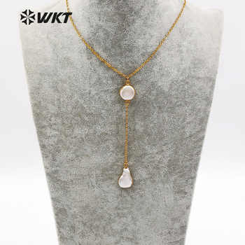 WT-N1127 WKT New Natural Baroque Pearl Charm Swearter Chain Jewelry For Female Gift Top Quality Fashion Women Long Necklace