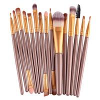 15pcs Gold Makeup Brushes Synthetic Make Up Brush Set Tools Kit Professional Cosmetics