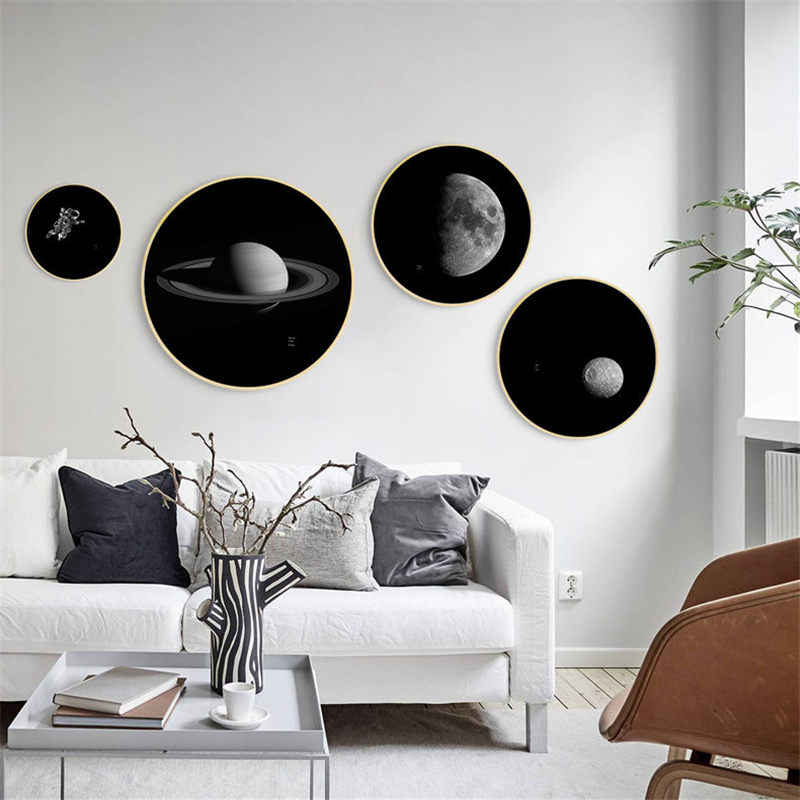 Star Moon Earth Nordic Canvas Painting Home Decor Wall Art Prints Posters Photography Black and White Picture for Living Room