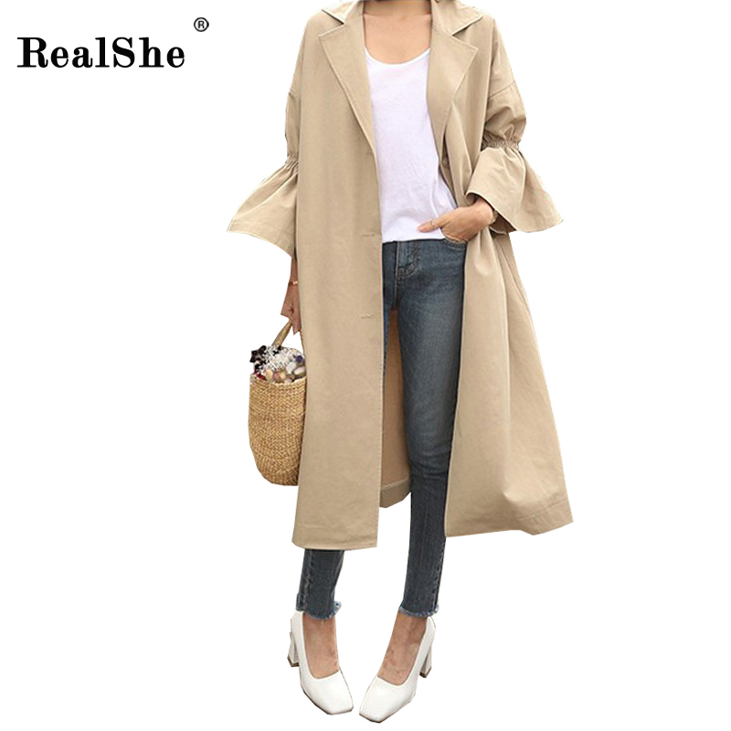 RealShe Autumn Winter Women Khaki   Trench   Turn-down Collar Flare Sleeve Single Breasted Outwear New Casual Coat Korean Long Cloth