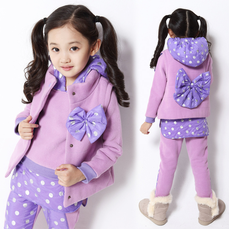 Free shipping winter girl clothing set splicing dot bowknot adornment three-piece suit girl children clothing set