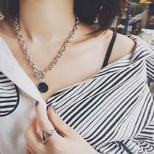 RE Casual Silver Color Chain Necklace Marble Pendant Women Fashion Jewelry Costume Accessories collier necklace J40