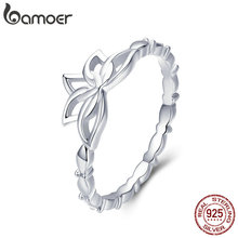 BAMOER Elegant Authentic 925 Sterling Silver Lotus Flower Finger Rings for Women Jewelry BSR018