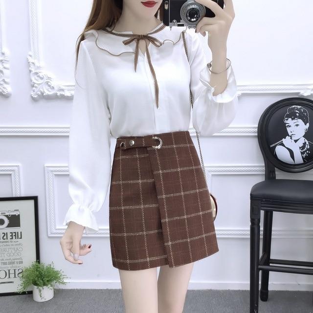 29028f4f821 Trajes de moda coreana mujeres Blusa de gasa top busto falda de cintura  alta rejilla de