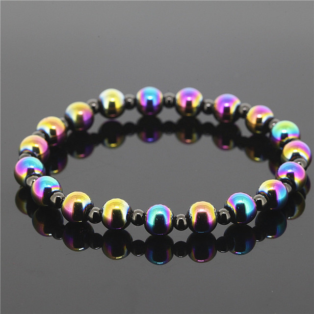 1PC Best Quality 8mm Colorful Iron Stone Beads Collection With 4mm Black Brass Beads Bracelet For Men And Womens Jewelry