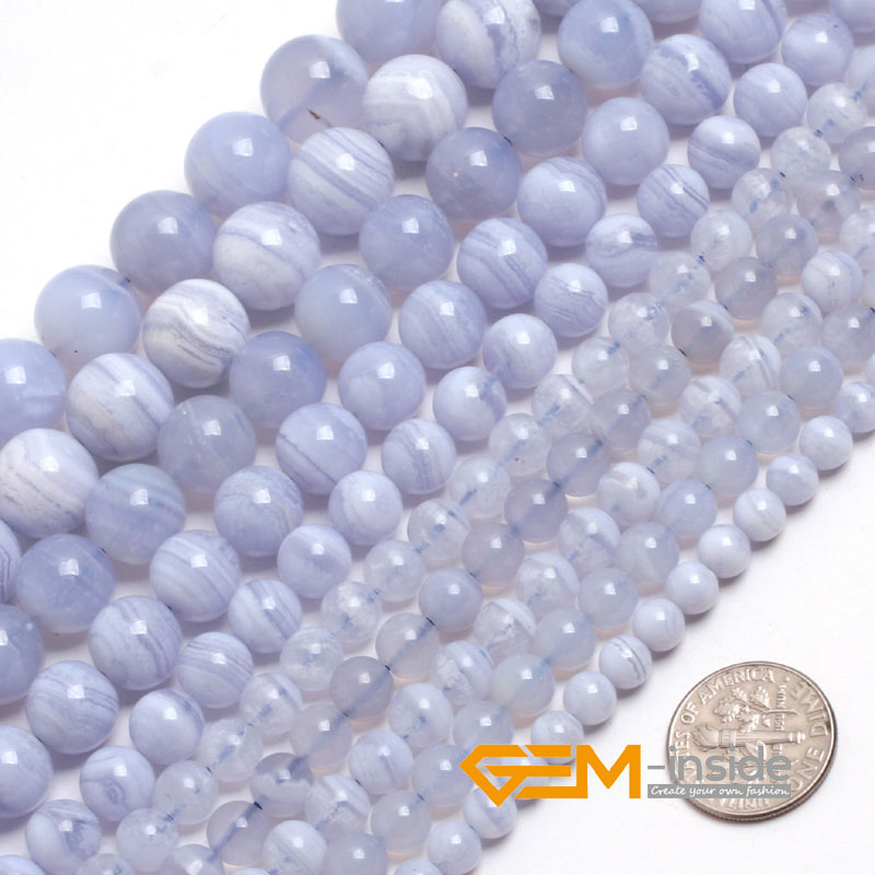 """Natural Stone Blue Chalcedony Round Beads For Jewelry Making Strand 15"""" DIY Bracelet Necklace Jewelry Bead 6mm 8mm 10mm 12mm-in Beads from Jewelry & Accessories"""