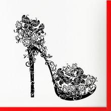 High Heel Shoe Wall Decal  Butterflies Swirls Flower Fashion Sticker Home Bedroom Art Mural Beauty Salon Decor AY828