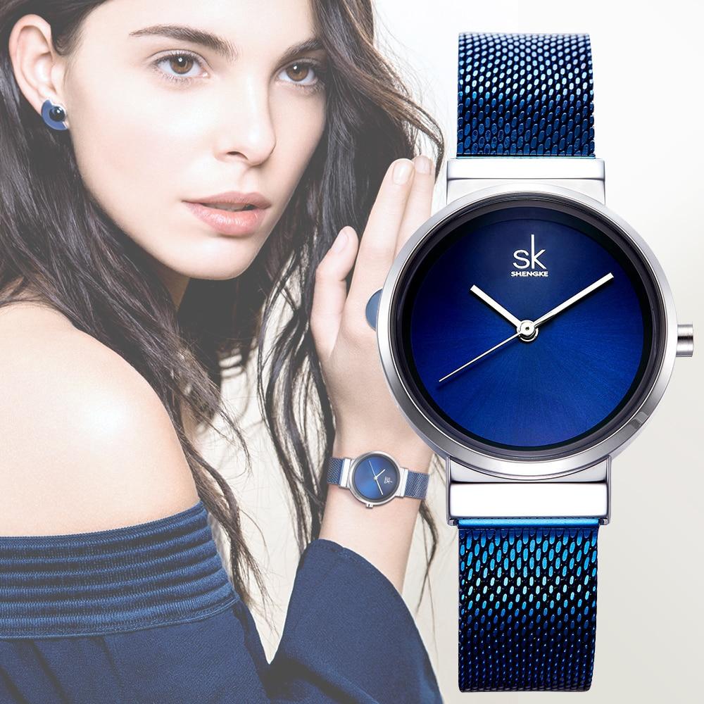 SHENGKE New Fashion Brand Women Wrist Watches Super Slim Blue Mesh Stainless Steel Watches Women Clock Ladies Quartz Wristwatch
