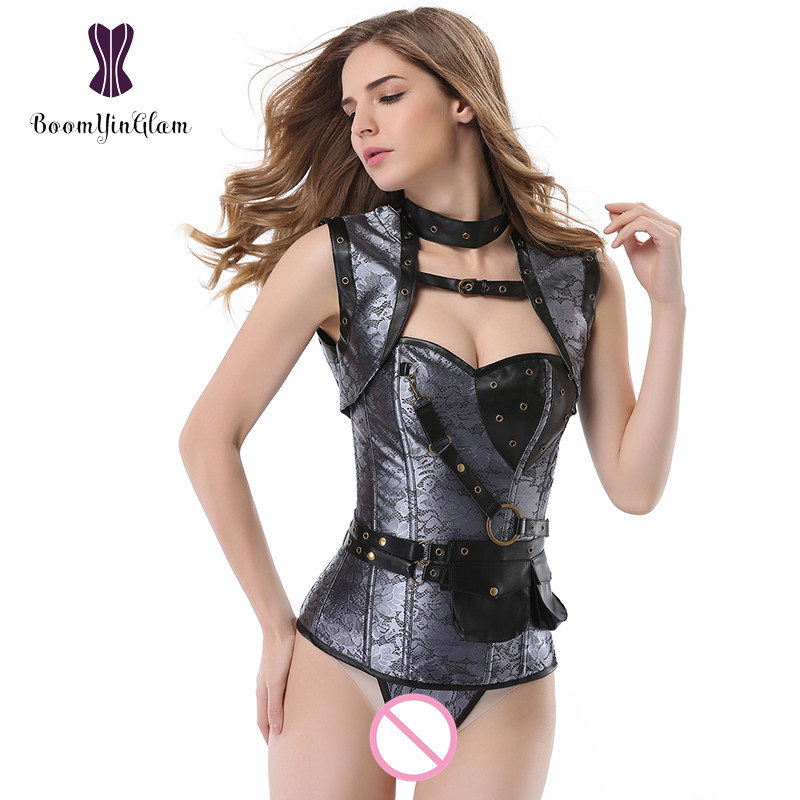 high quality fashion women steampunk clothing plus size cowgirl style steel boned   corsets     bustier     corset   with jacket 926#