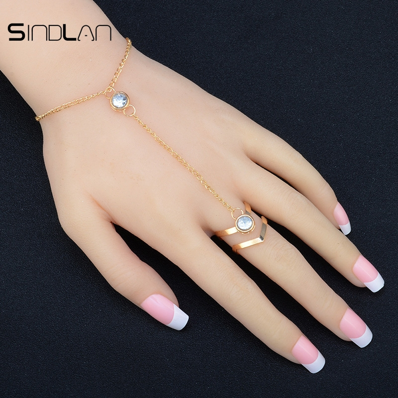 Sindlan Fashion Gorgeous Crystal Bilezik Rhinestone Bracelet Bangle Connected Finger Chain Ring Gold Bangles And Ring For Women