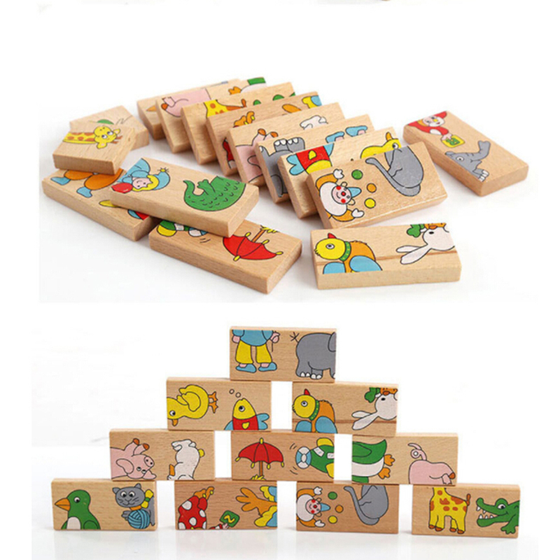 15Pcs/Set Children Fuuny Animal Pattern Build Up Sequence Blocks Domino Kids Intelligence Game Toy Set Domino Animal Blocks