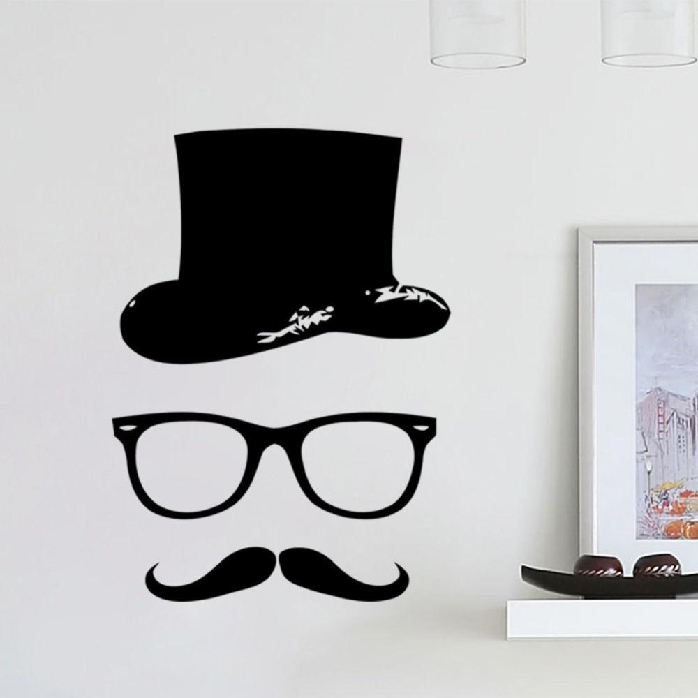 Wallpaper iphone kumis - Gratis Pengiriman Murah Hat Kaca Kumis Dinding Decal Vinyl 28x39 Cm Home Decor Mural Stiker Dinding
