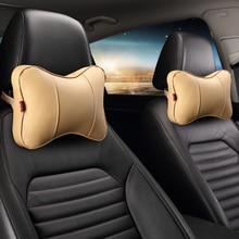 KKYSYELVA Leather Car Neck Pillow headrest Support Pillows Seat Cushion Interior Accessoreis