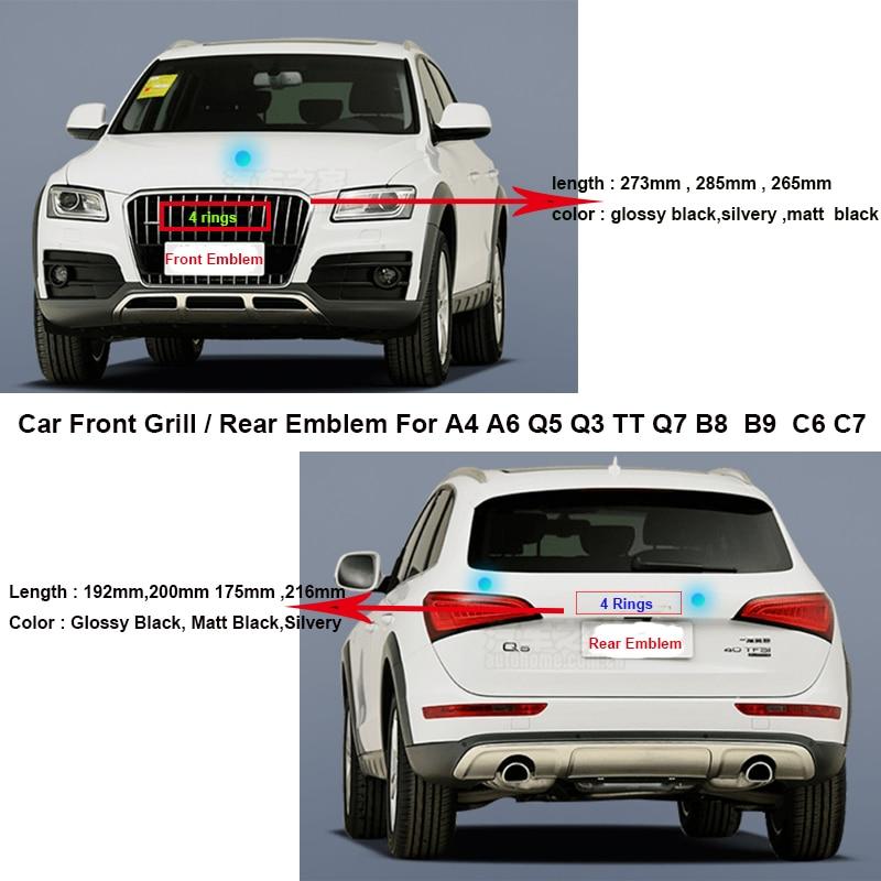 Car Front Grill Label hood bonnet Badge/Rear Boot Emblem Auto Tail Trunk Logo For A4 A6 Q5 Q3 TT Q7 B8 B9 C6 C7