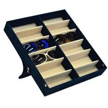 Glasses Display Case 12 Grid Sunglasses Organizer 12 Pairs Sunglasses Storage Box With Foldable Lid For Sunglasses Box #20 marble foldable glasses box
