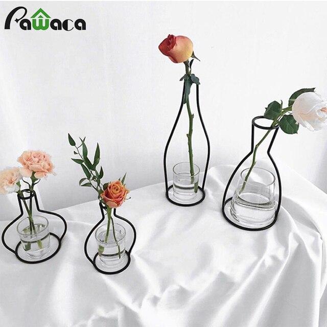 10 Shapes Nordic Style Vase Minimalist Abstract Black Lines Brief Iron  Flower Vase Racks Shelving Orrnaments