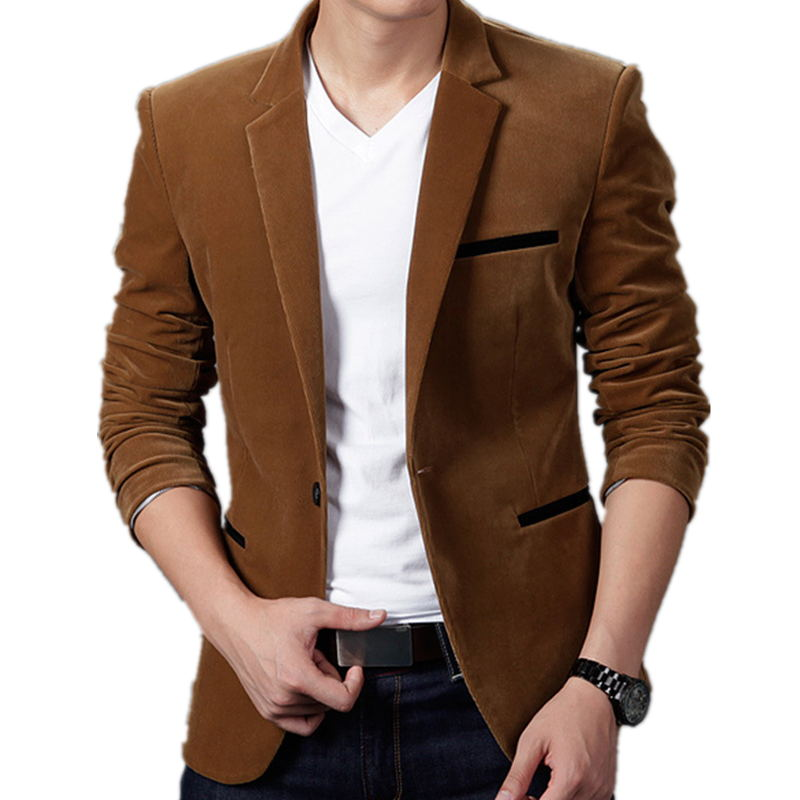 Male Blazers Jacket Coat Suit Slim-Fit British's-Style Casual Mens Fashion-Brand
