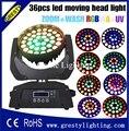 Акция! Zoom 36x18 Вт RGBWA UV 6 в 1 моющийся светодиодный движущаяся головная лампа