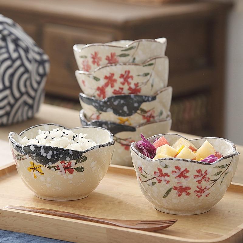 Porcelain Tableware Ceramic Big Soup Bowl Rice Bowl Hand-Painted Plum Flowers Ceramic Bowl Japanese Microwave Oven Tableware