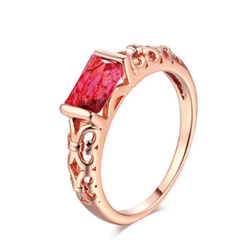 Pierścionki Bride prezenty rozmiar 6 7 8 9 10 duży czerwony biały kryształ srebrny cyrkon nadmorski drążą kryształ gorąca sprzedaż róża złote kobiety 1PC