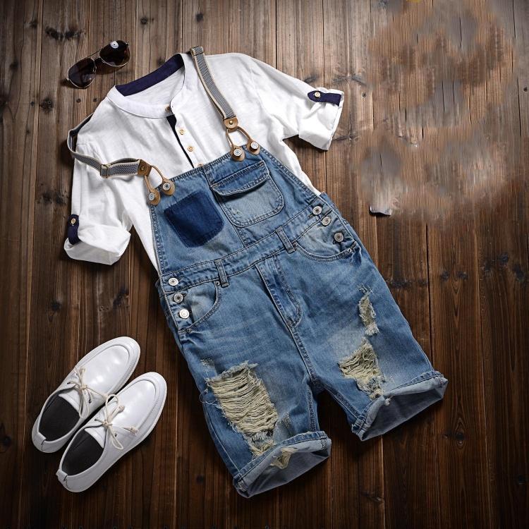 2018 Summer Fashion Men's Shorts Bib Overalls Jeans Short Man Casual Slim Fit Ripped Denim Jumpsuits Jeans Shorts Pants