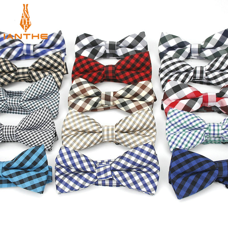 2018 Brand New Men's Fashion Vintage Colorful Plaid Neck Bowtie For Man Wedding Suits Bow Ties Cravatas Corbatas Check Butterfly