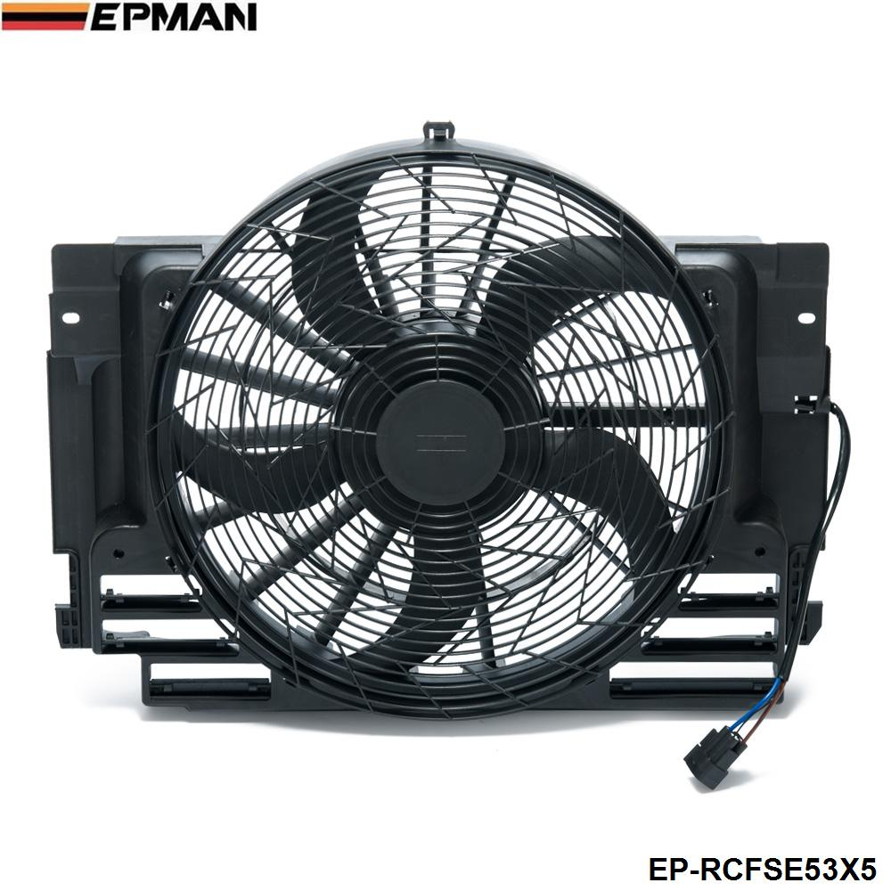 EPMAN - AC A/C Condenser Cooling Fan Assembly 5 Blade For BMW X5 E53 2000-2006 64546921381 EP-RCFSE53X5 epman turbo intercooler for bmw 135 135i 335 335i e90 e92 2006 2010 n54 ep int0022bmwt335i