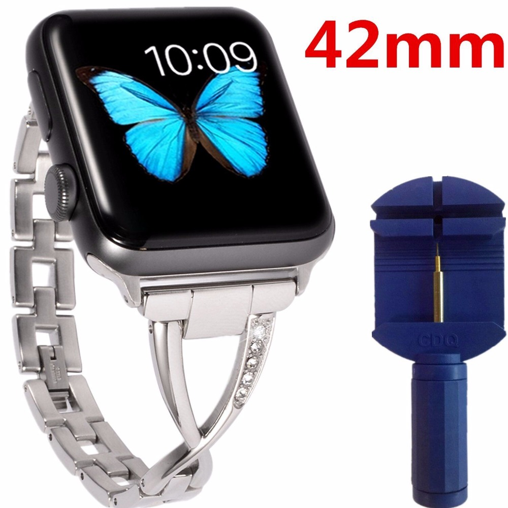 Galleria fotografica 38mm/42mm Stainless Steel Link band Replacement fitness Smart Watch Wristband Straps+Adapter Bracelet Accessory for Apple Iwatch