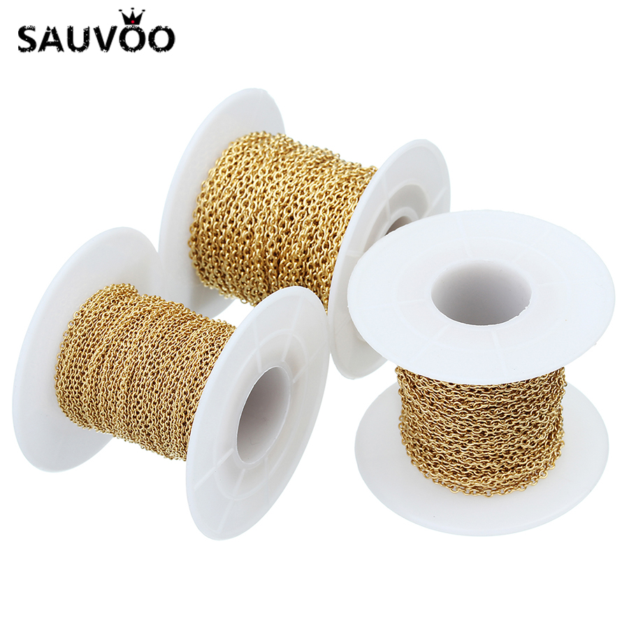 SAUVOO 10 Yard Gold Plated Stainless Steel Necklace Chains Wide 1.5mm 2.0mm 2.2mm Bulk Chain for DIY Jewelry Findings Components
