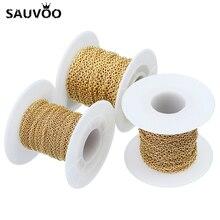 Sauvoo 10 Yard Vergulde Rvs Ketting Kettingen Breed 1.5 Mm 2.0 Mm 2.2 Mm Bulk Ketting Voor Diy sieraden Bevindingen Componenten