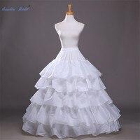 Sapphire Bridal Long Bll Gown Wedding Dress Petticoat White Elastic Waistband 4 Hoops 5 Layers Ruffles Performance Petticoat