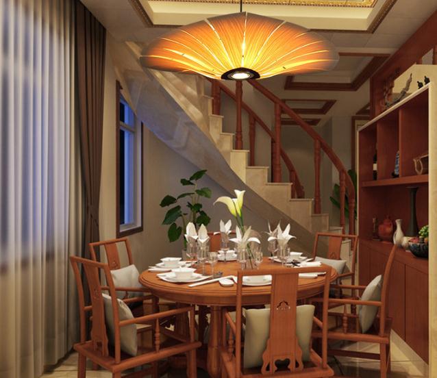 Hanging Pendant Light Living Room Round Table Japan Chinese Style Led Wood Veneer Restaurant Dining Lighting Lamp