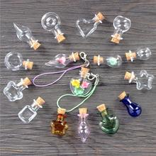 Mixed Shapes Mini Glass Bottles Cork Wood Hanging Rope Small Jars