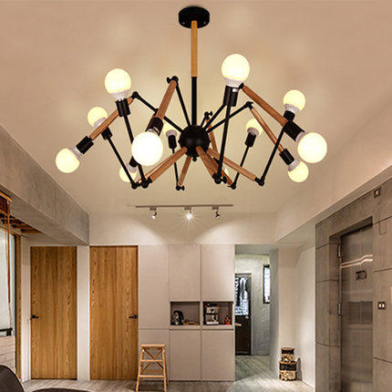 Spider Shape America Wooden LED Pendant Lamp With 6 Lights Fixtures Loft Vintage Industrial Lighting Lamparas Colgantes america country led pendant light fixtures in style loft industrial lamp for bar balcony handlampen lamparas colgantes