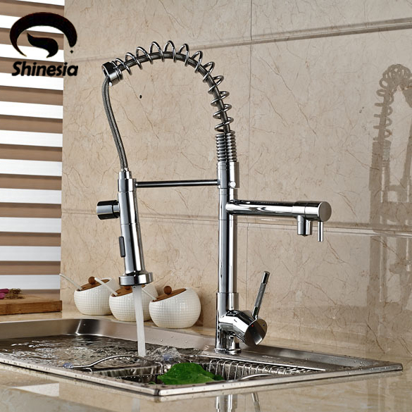 NEW Pull Down Style 2 Functions Water-out Kitchen Sink Faucet Single Handle Deck Mount Mixer Water Tap Chrome Brass kitchen chrome plated brass faucet single handle pull out pull down sink mixer hot and cold tap modern design