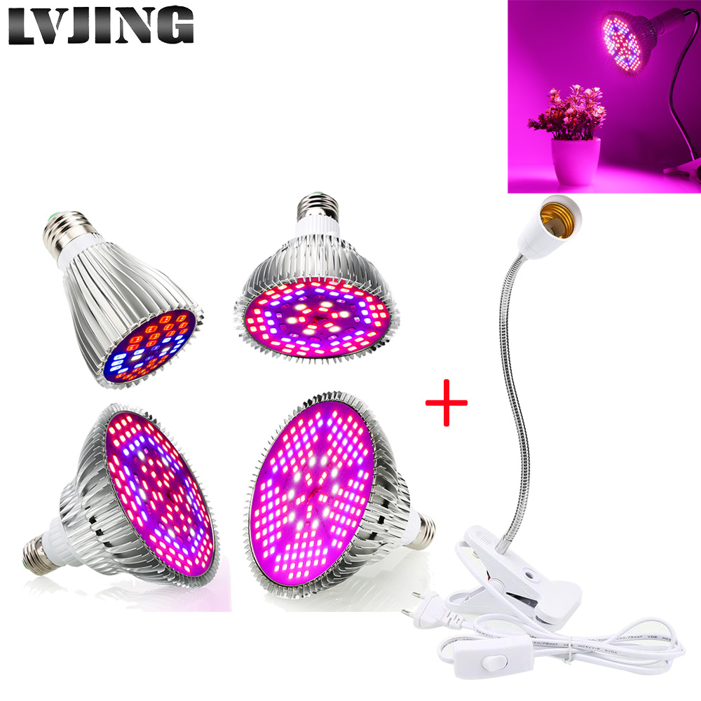 30W 50W 80W 100W LED Grow Light Bulb With 360 Flexible Lamp Holder Clip Plants Growth Lamp For Indoor Greenhouse Hydroponics