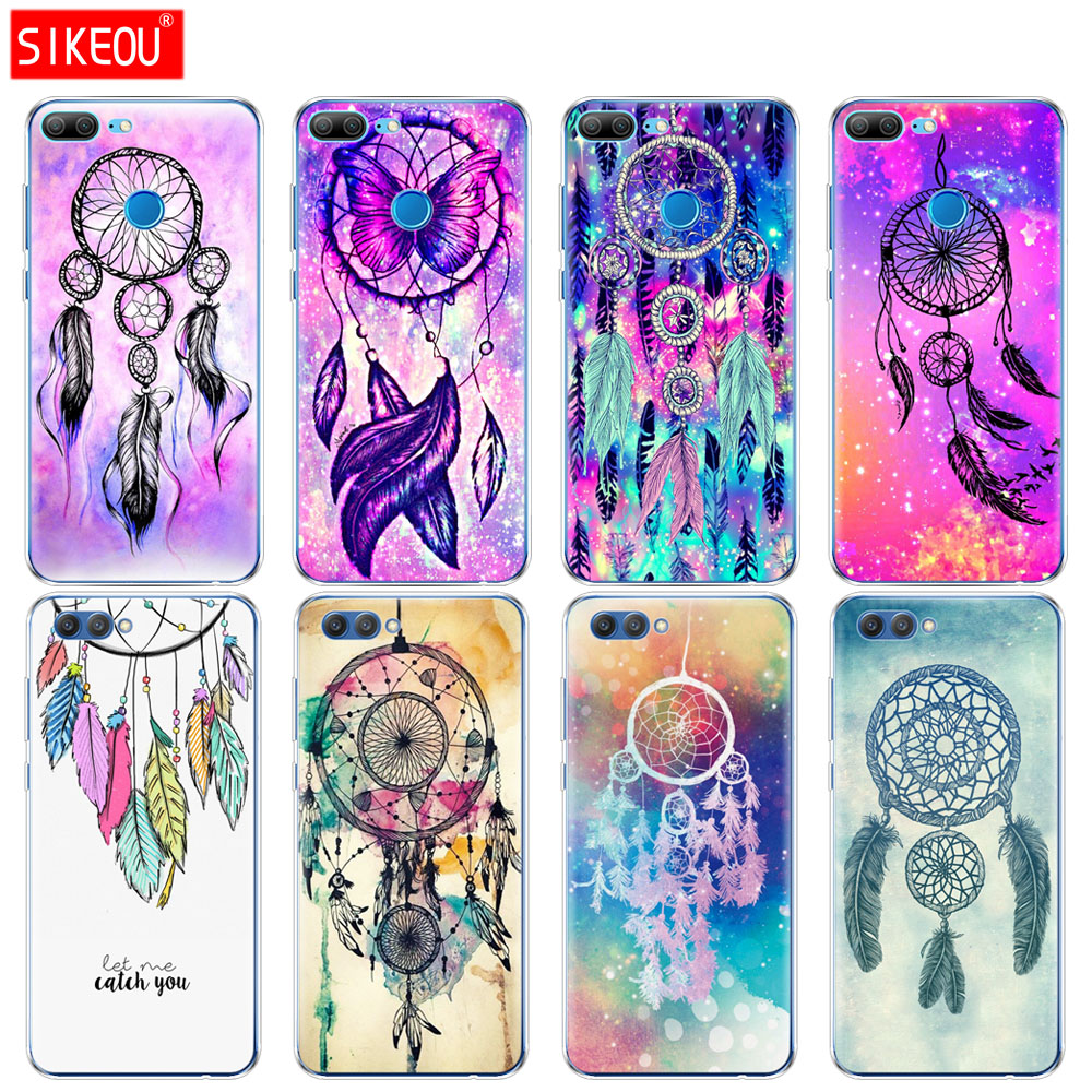 Silicone Cover phone <font><b>Case</b></font> for Huawei <font><b>Honor</b></font> 10 V10 3c 4C 5c 5x 4A 6A 6C pro 6X 7X 6 7 8 <font><b>9</b></font> <font><b>LITE</b></font> purple <font><b>blue</b></font> Dream Catcher image