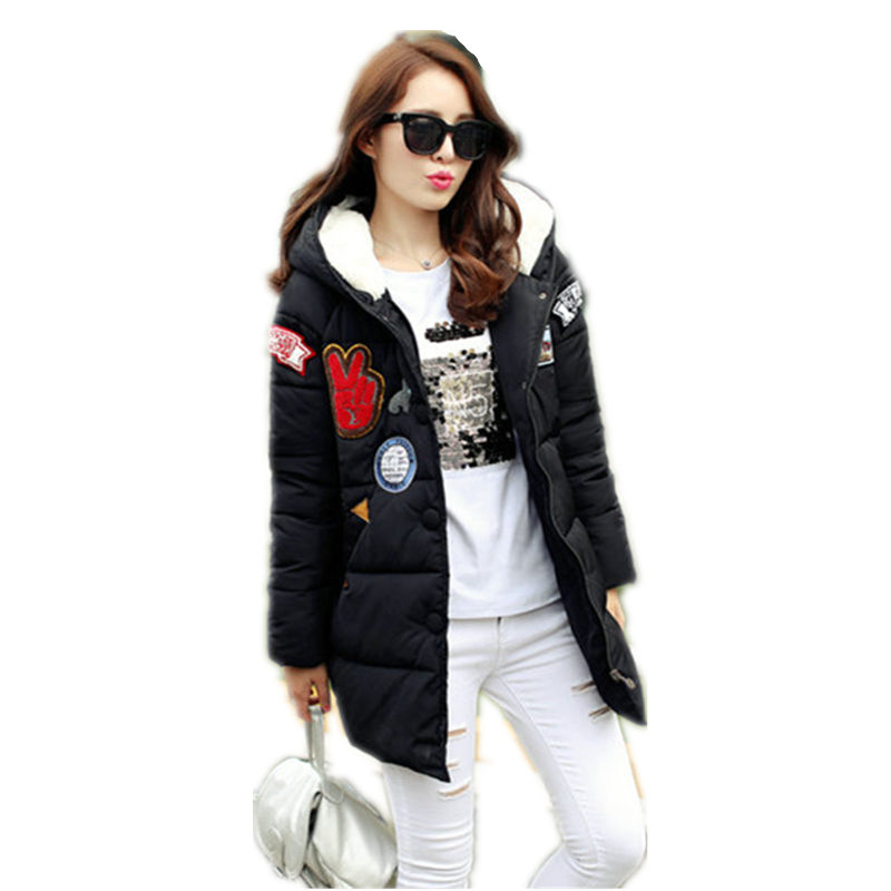 New Women Down Padded Winter Coat Female British Style Loose Plus Size Cotton Jacket For Women's Thick Long Caots Parkas LD189