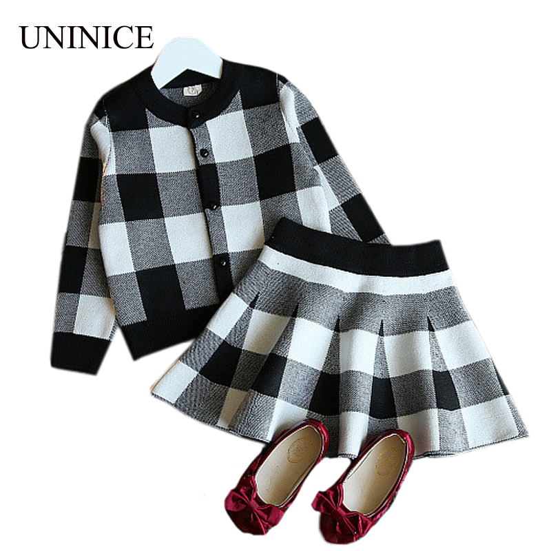 UNINICE Girls Clothes Suit 2017 Autumn Kids Clothing Long Sleeve Plaid Dress 2pcs Suits For Baby Girl Clothes Set For 2-8T