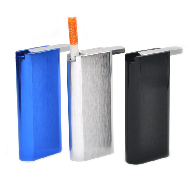 "1PC Aluminum"" Dugout ""With Ceramic bat Tubes Cigarette pipe  Pushing-out  Open Lid ""Note: not Wood Dugout""  Smoking Pipe Case"