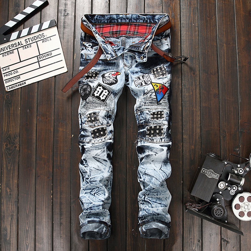 d98a1d910288a Patchwork Jeans Men Casual Cotton Classic Ripped Denim Men Straight ...