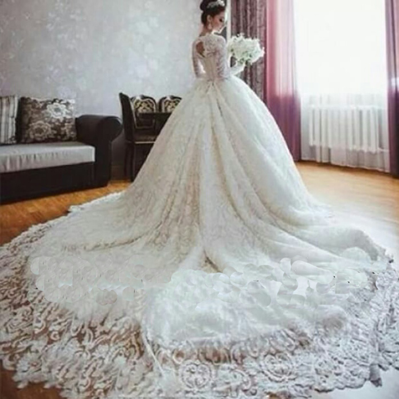Most Beautiful Wedding Gown In The World: Luxury Robe De Mariage Vintage Long Sleeve Arab Israeli
