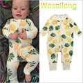 Varejo 2017 Novos macacão de bebê Primavera e No outono venda de abacaxi logotipo zíper mangas compridas traje do bebê menina e menino